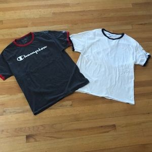 Champion two cotton tshirts L